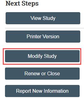screenshot of modify study button
