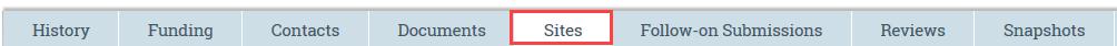 sites tab