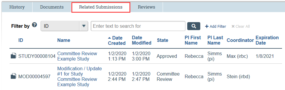 RNI related submissions tab