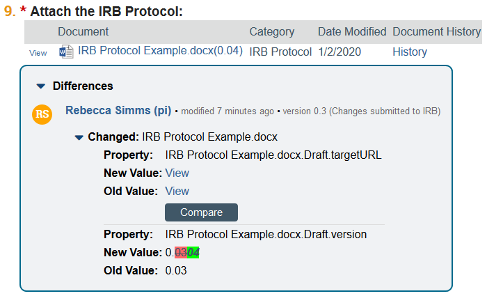 document change example