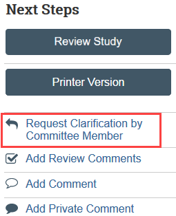 request clarification by committee member button