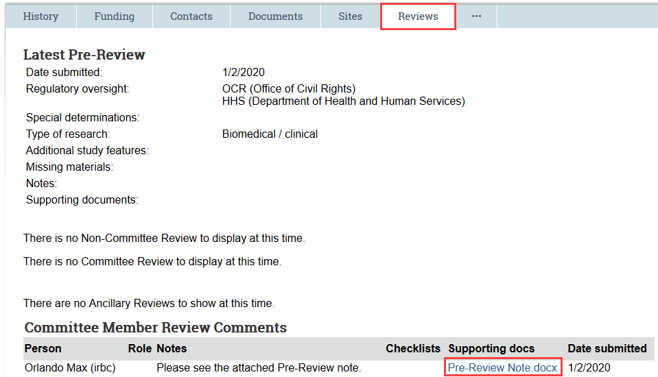 reviews tab showing the pre-review note