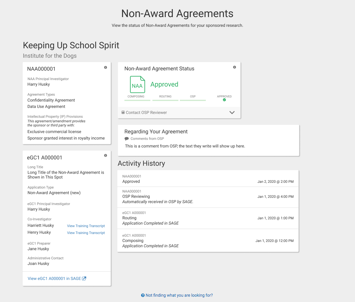 Non-Award Agreement details page