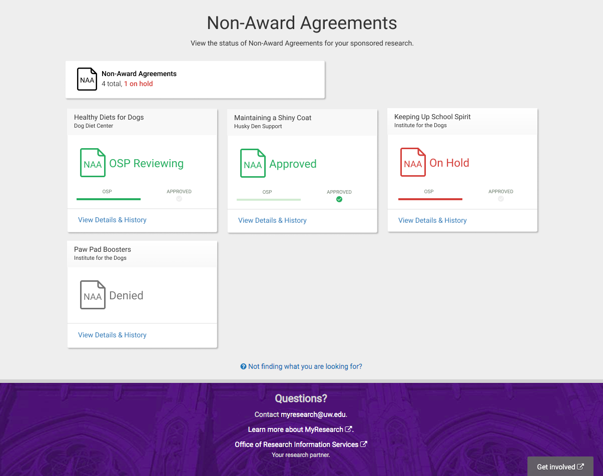 MyResearch Non-Award Agreement dashboard