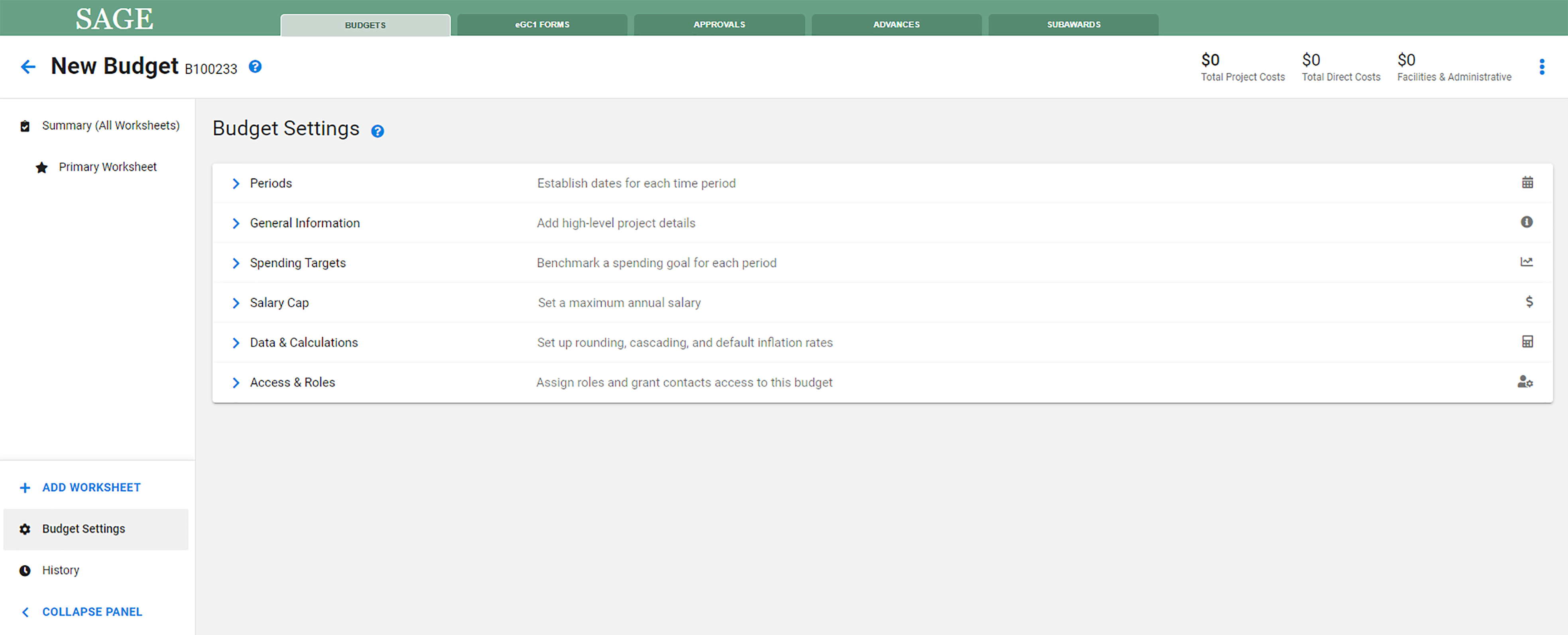 Redesigned SAGE Budget Settings