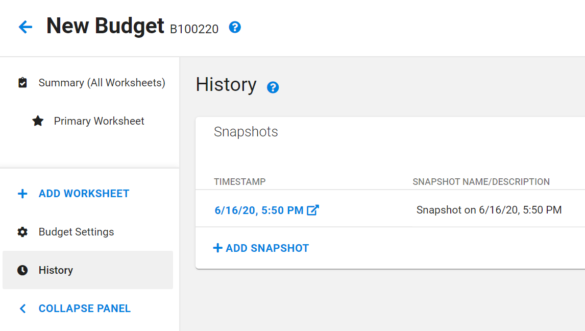 Redesigned SAGE Budget History