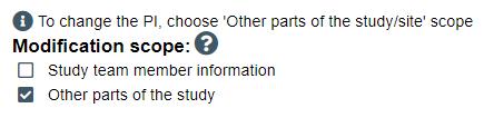 screenshot of modification scope question