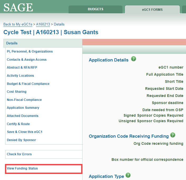 eGC1 View Funding Status selected
