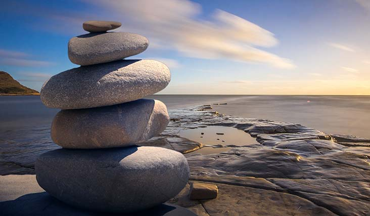 balanced rocks on a beach